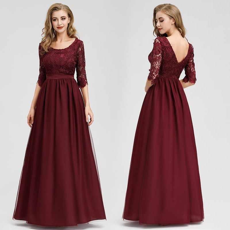 Кружевные вечерние платья с длинным рукавом и круглым вырезом, сексуальные элегантные женские вечерние платья с аппликацией, 2019