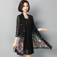 Spring Summer Women Elegant Floral Print Two Pieces Dress Casual O-neck Lace Party Dresses Vestidos Plus Size 5XL 2019 women spring summer vintage floral print dress elegant o neck long sleeve mini party dresses vestidos plus size 5xl