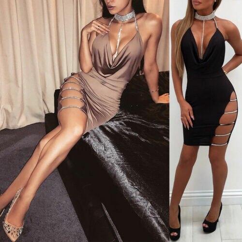 2019 New Sexy Women's Bandage Bodycon Evening Party V Neck Club Short Mini Dress 4