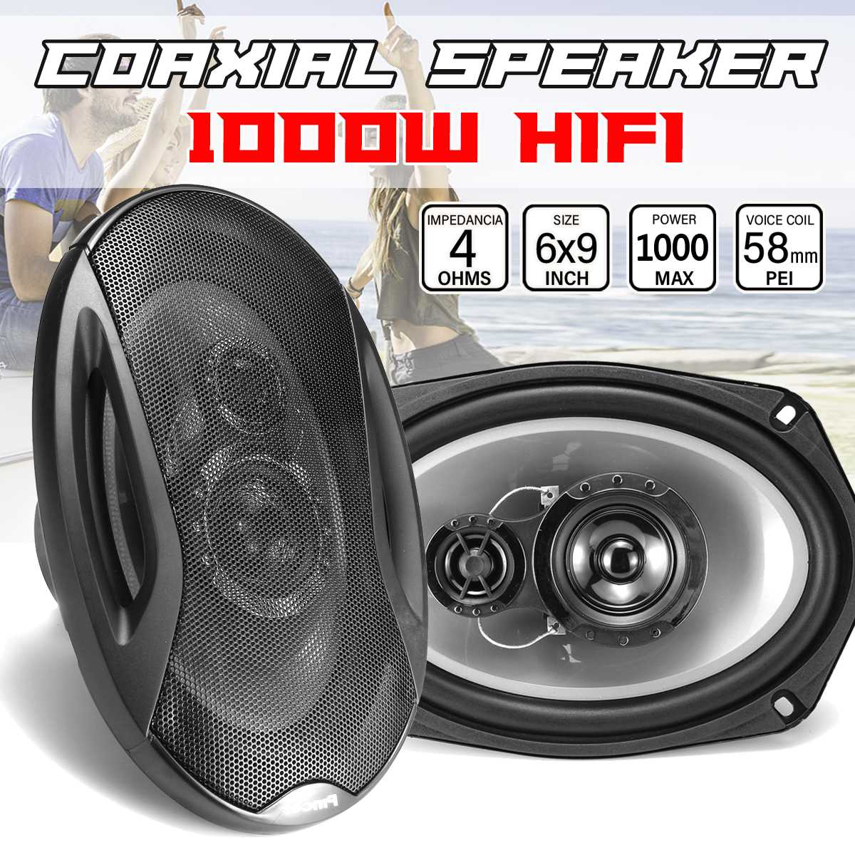 1000 W 6x9 pouces 2 voies composant voiture haut-parleur Coaxial Auto porte véhicule Audio musique stéréo transat Subwoofer Tweeters