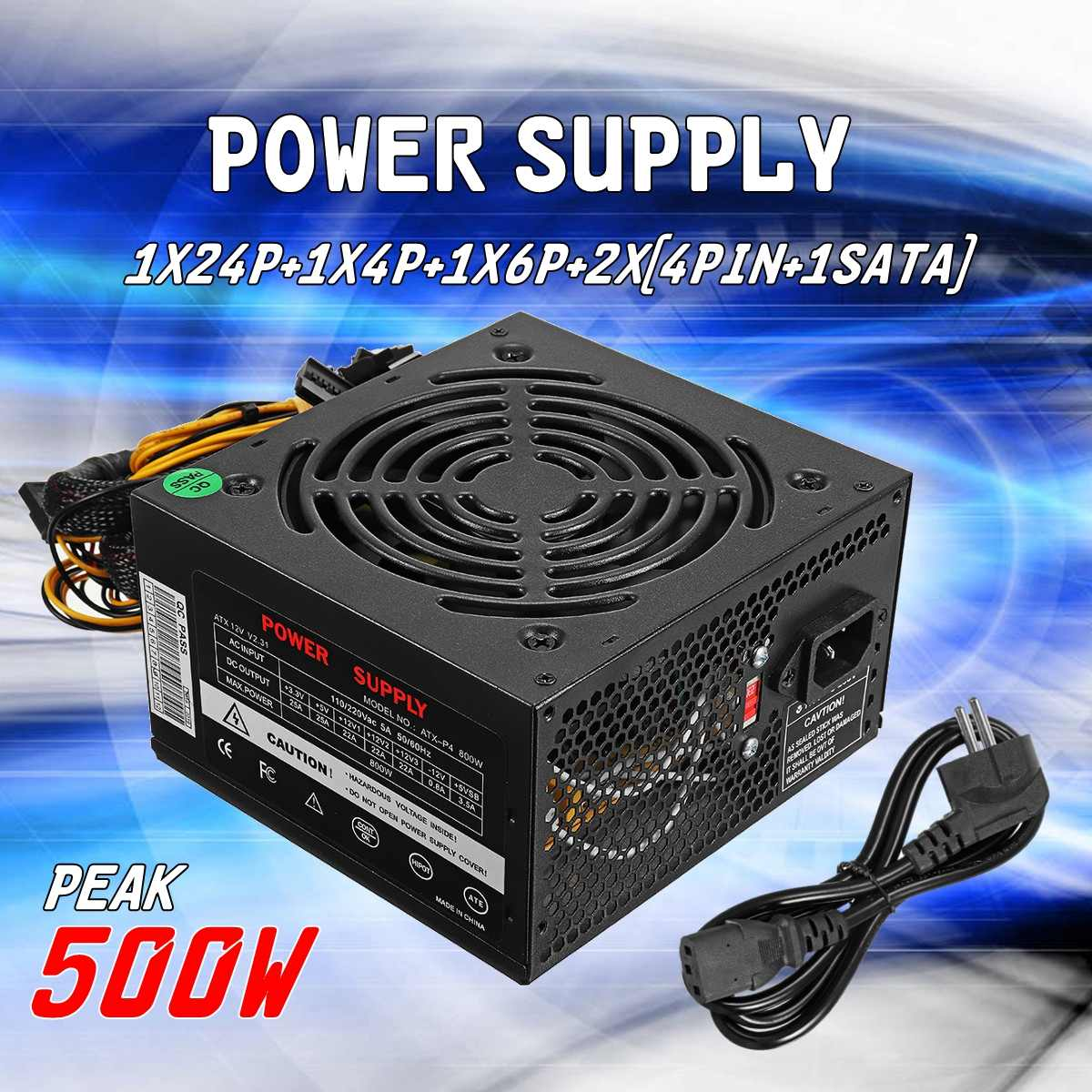 500 W PSU soldado silencioso ventilador ATX 24pin Sata Juegos de ordenador fuente de alimentación para Intel AMD PC puede de la computadora de la PC 110 ~ 220 V