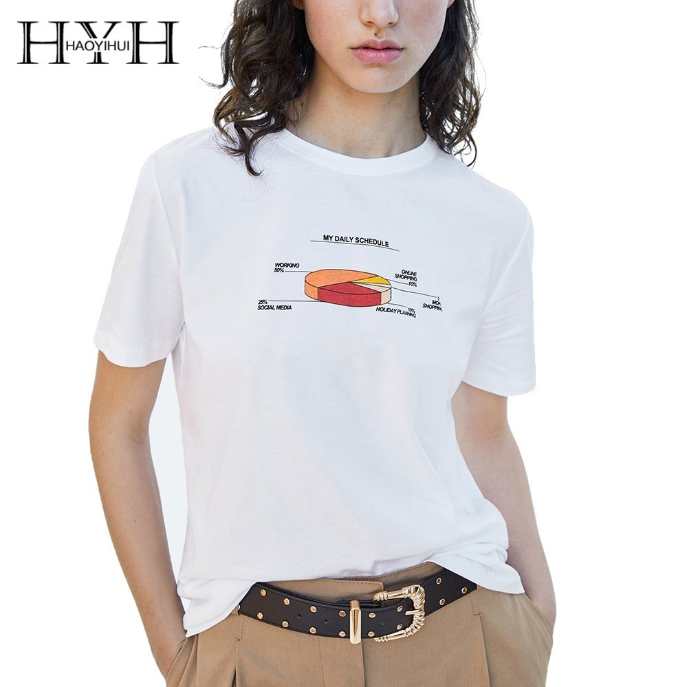 HYH HAOYIHUI Women New Summer T shirt Simple Commuter Loose Casual Print Short sleeved in T Shirts from Women 39 s Clothing