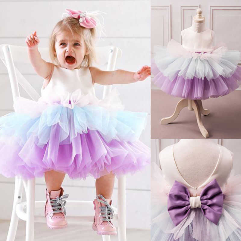 Pudcoco Girl Dress 6M-5Y UK Baby Dress Girl Princess Kids Party Wedding Bridesmaid Formal Tutu Dresses