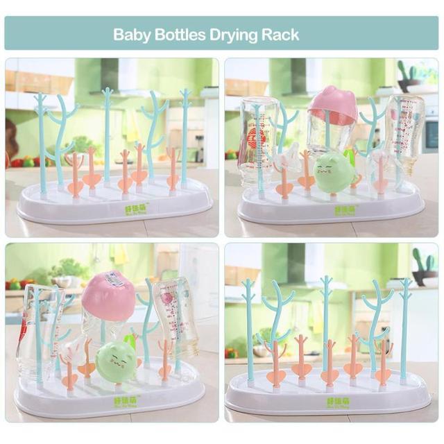 Baby Bottles Drying Rack Tree Pattern Cleaning Drainer Feeding Cup Holder Dryer Drainer Storage Rack Tree Shape Rack For Babies