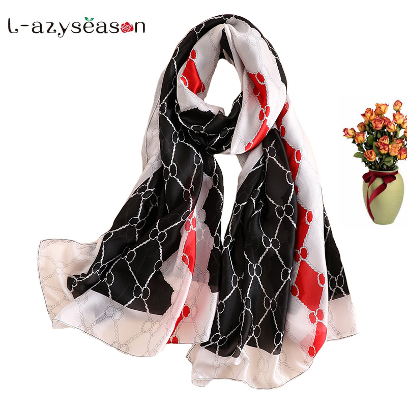 New basic summer silk scarf women fashion satin silky head Scarves designer Print female shawls soft wraps long size headband
