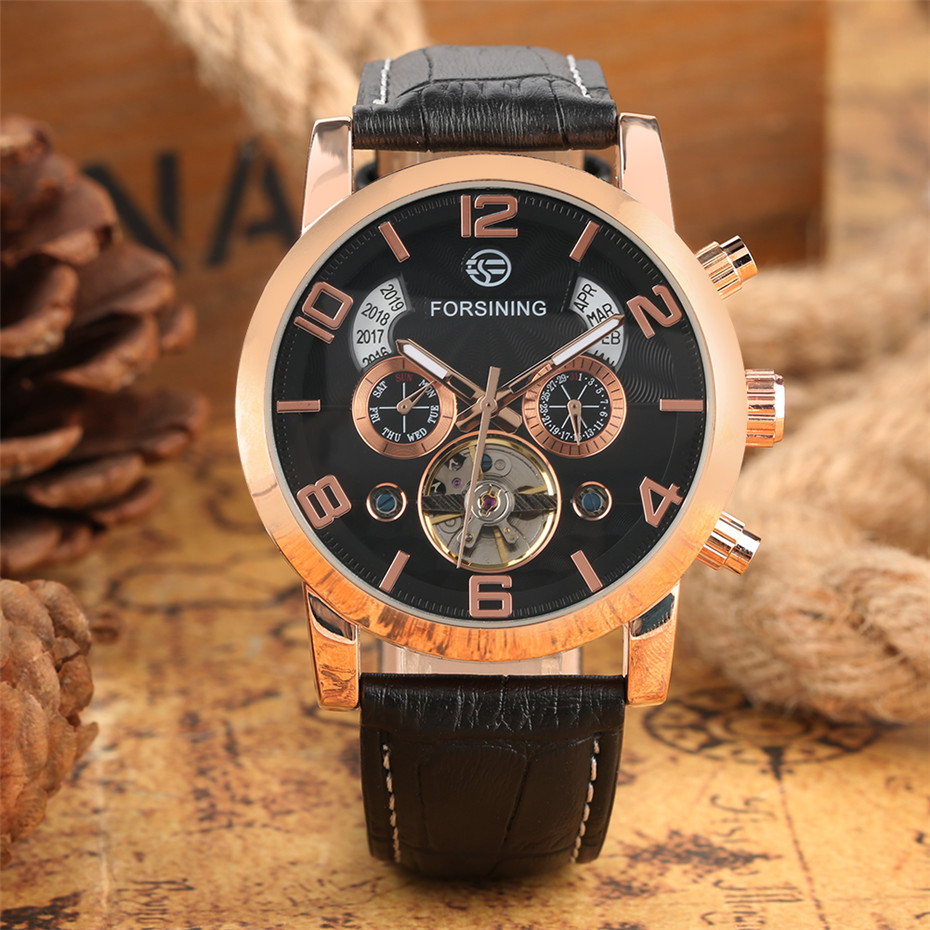 Chronograph Tourbillon Mens Mechanical Wristwatch Luxury Business Mens Clock Genuine Leather Clock Male reloj masculinoChronograph Tourbillon Mens Mechanical Wristwatch Luxury Business Mens Clock Genuine Leather Clock Male reloj masculino