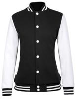 autumn jacket Women contrast tops spring Stylish & Slim Fit knitted collar basic 100%Cotton Varsity Baseball Jacket Coat Tops
