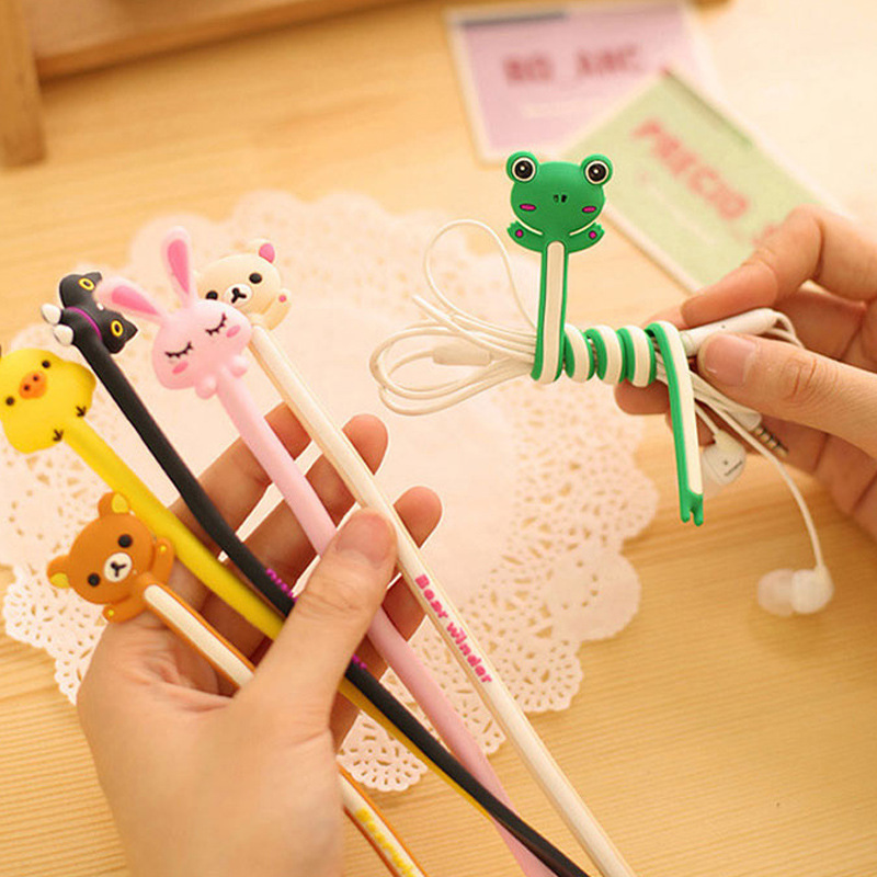 Cute Animal Wire Clip Organizer Office Accessories Bobbin Winder Wrap Cord Cable Manager For USB Cable Lovely Stationery
