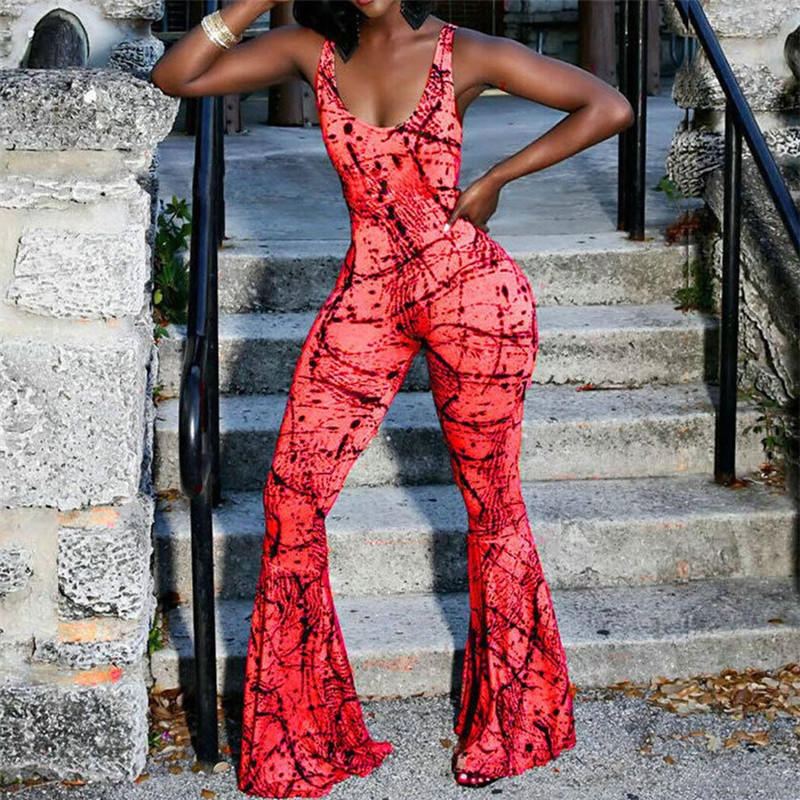 Sexy Women Boho Playsuit Sleeveless Backless Jumpsuit Rompers Summer Beach Holiday Floral Printed Jumpsuit Casual Wide Leg Pants