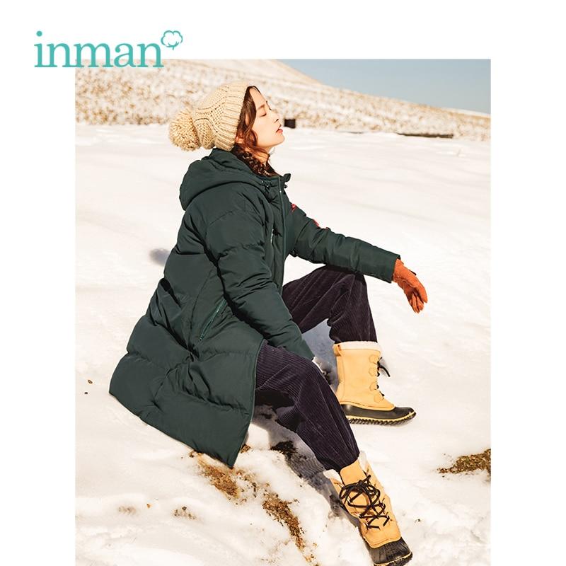 INMAN Winter New Arrival Fashion Applique Literary Slim Long Medium and Long Woman Down Coat