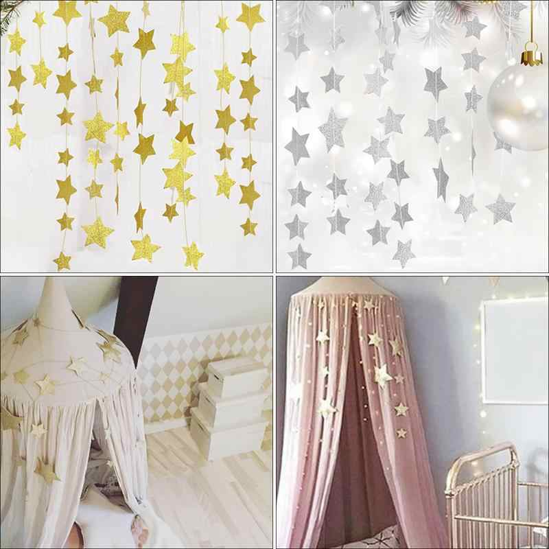 Gold Stars Hanging Decoration Crib Net Garland Children's Rooms Mosquito Nets Sparkling Star Garland Bunting for Weddings Party