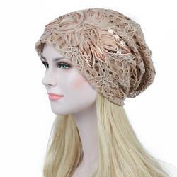 Кружева цветок с напуском мешковатые головы кепки для женщин Chemo Beanie Рак шляпа тюрбан Ms. кружево месяц теплый шляпы для химиотерапии
