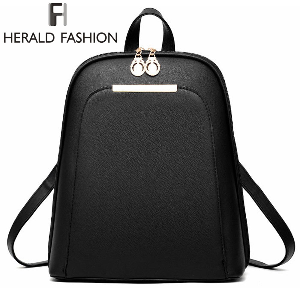Herald Fashion Casual Student Backpacks School Bags for Teenage Girls Women Leather Backpacks Youth Laptop Backpack Daily Bags image