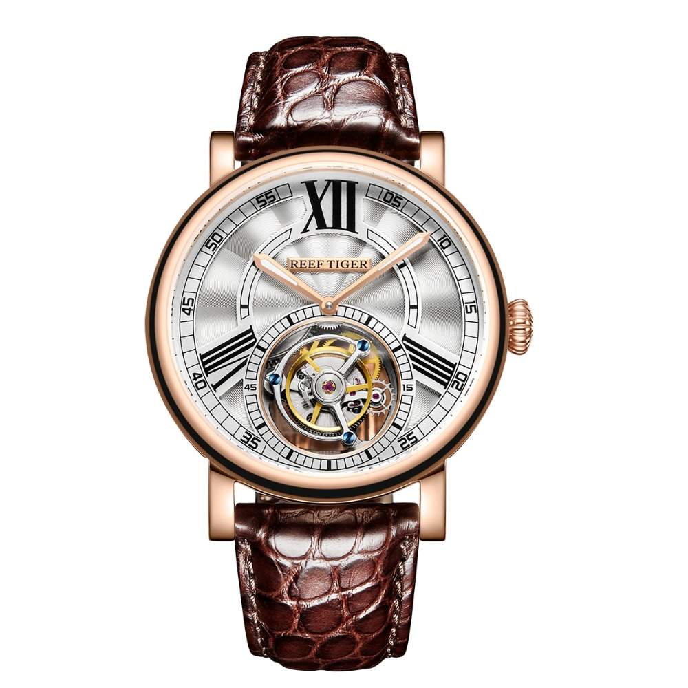 Reef Tiger RT Casual Designer Watch for Men Tourbillon Automatic Watch with Alligator Strap Luxury Rose
