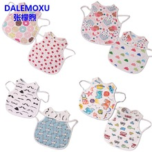 DALEMOXU Baby Aprons Double Side Different Patterns Bibs Neckerchief Cartoon Bandana Bib Cotton Kids Toddler Eating