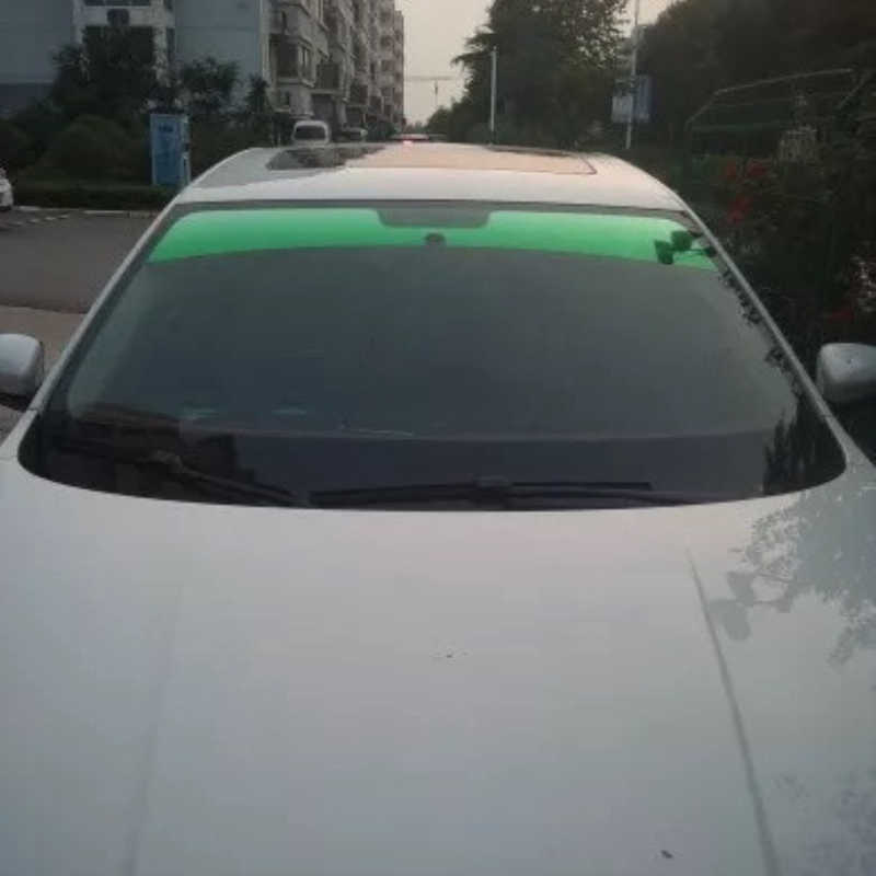 20x150cm Top Front Windshield Foil Solar Protection Gradient Black/green/purple Car Tinting Film Sunshade For Driver Driving