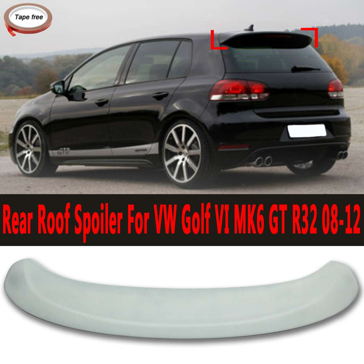 Rear Trunk Roof Spoiler Boot Lip Wing Fits For VW for Golf VI MK6 GT R32 2008-2012Rear Trunk Roof Spoiler Boot Lip Wing Fits For VW for Golf VI MK6 GT R32 2008-2012