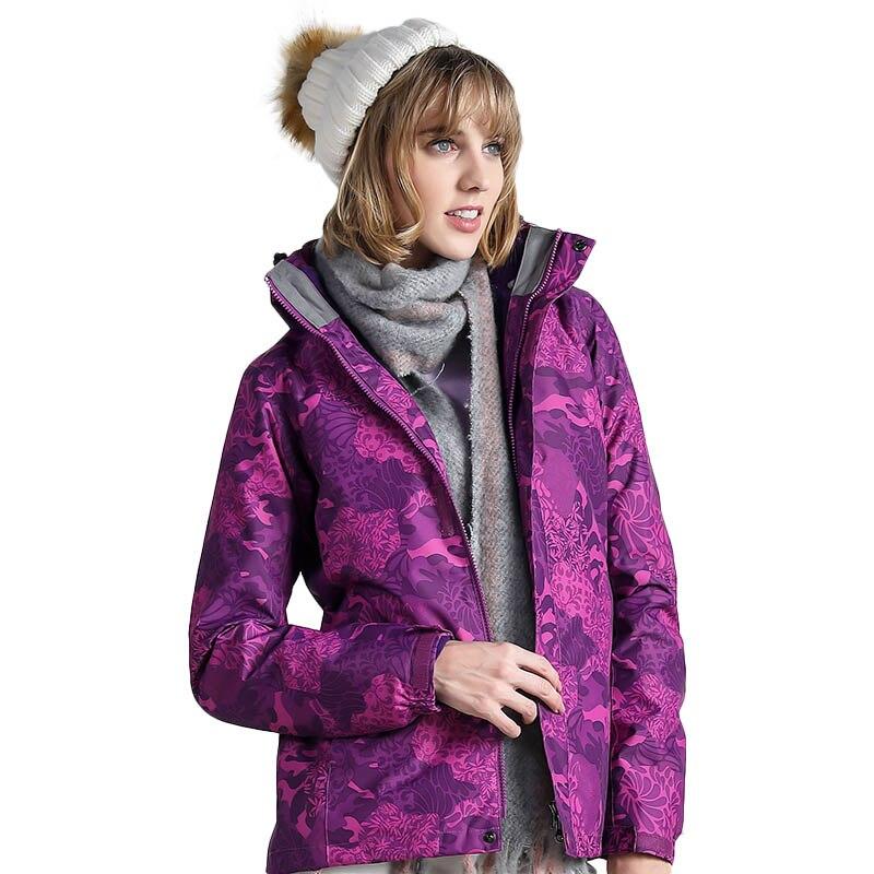 Automne hiver femmes randonnée montagne Climing Camo veste épaisse chaude Sports de plein air veste coupe-vent résistant à l'eau coupe-vent