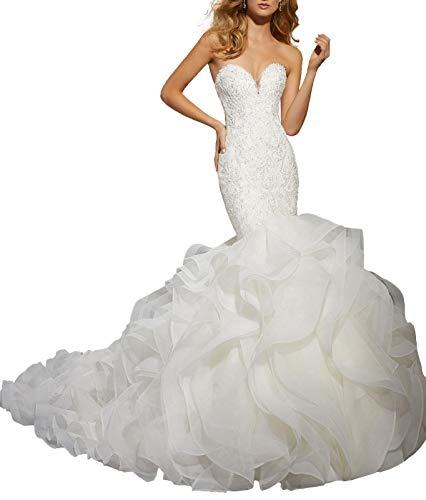 Princess A Line White Tube Wedding Dress Mermaid Long Tail