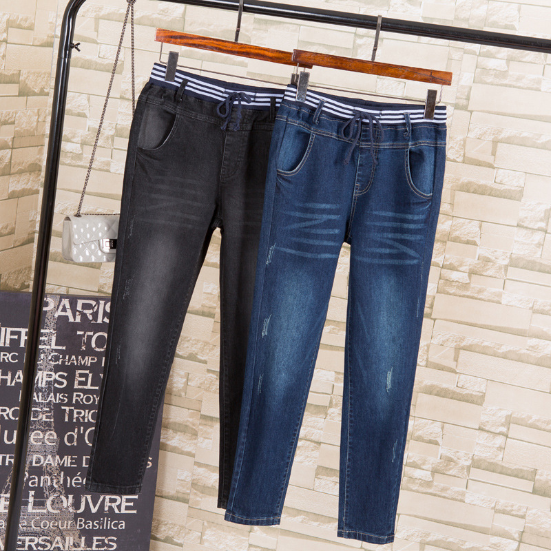 2019 Autumn Fashion New Casual Loose Jeans for Women Casual Elastic High Waist Haren Pants Jeans Plus Size G3P7