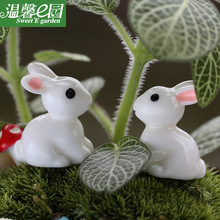 2pcs Little Rabbit Miniature Figurines Resin Handicraft Fairy Garden Miniatures Cartoon Animal Statue Moss Ornaments