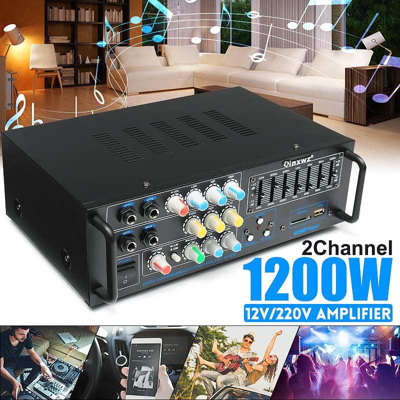 New Professional Audio Home 1200 Watt Stereo Amplifier 12/220 Volt Home Theater Amplifiers AudioNew Professional Audio Home 1200 Watt Stereo Amplifier 12/220 Volt Home Theater Amplifiers Audio