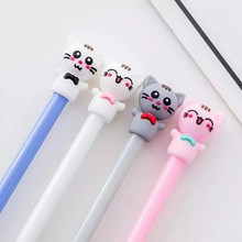 Ellen Brook 1 Piece Cartoon Kawaii School Supply Office Stationery Gel Pen Handles Creative Meng Cat Lovely Cute Gift(China)