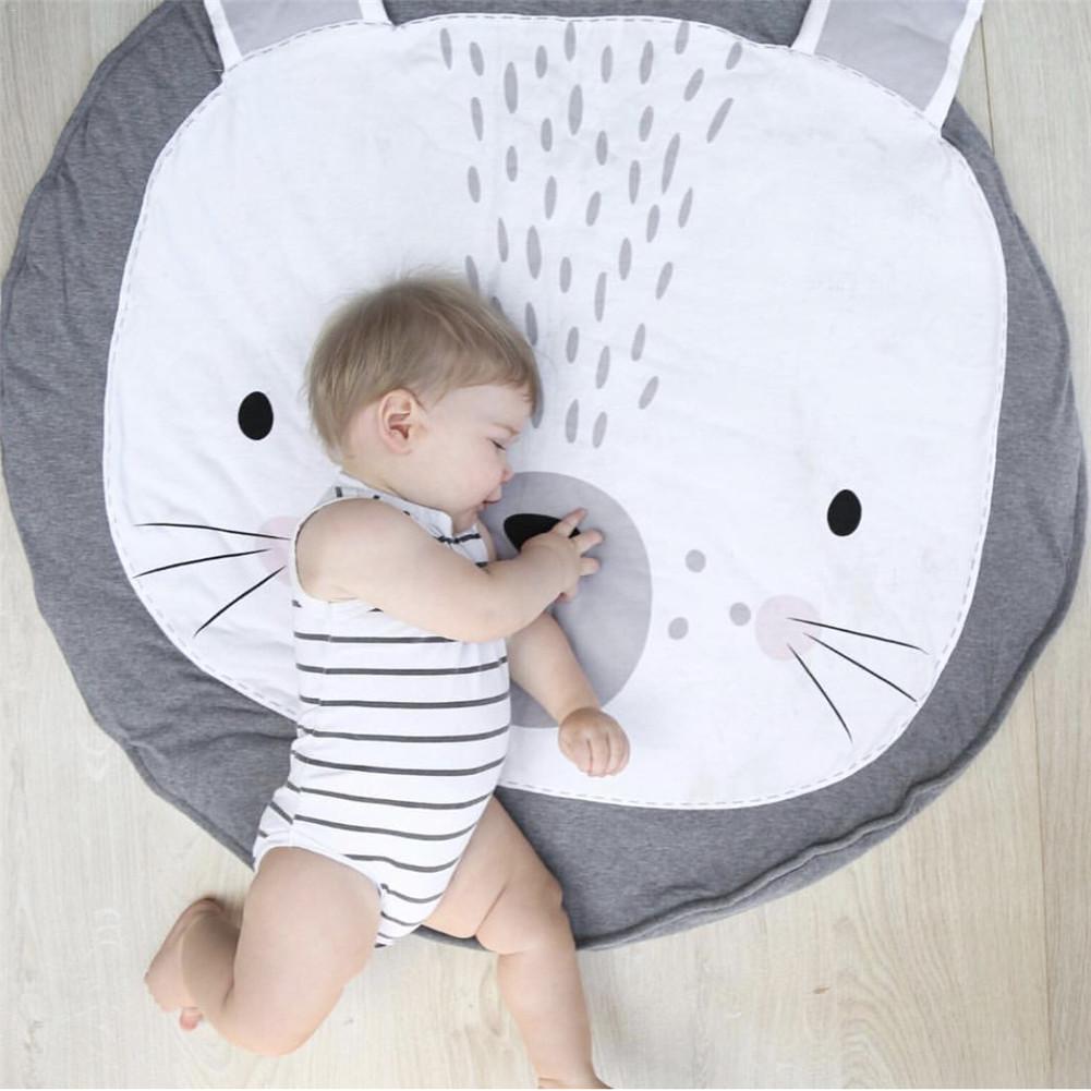 Nieuwe Baby Kids Vloermatten Baby Kruipen Deken Katoen Chilren Gewatteerde Mat Ronde Leuke Cartoon Prints Tapijt Kid Kamer Decoratie