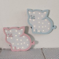 INS Nordic Pig LED Wall Lamp Cartoon Wall Hanging Novel Cute Baby Light For Home Decoration Creative New Year Valentine Day Gift