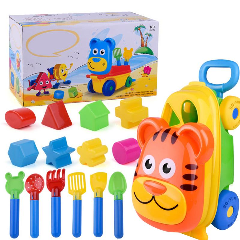 14 Pcs Kids Tiger Sand Molds Sandbox Carry Beach Sets Toys Castle Bucket Storage Toy Collection Sand Away Beach Cover Tool