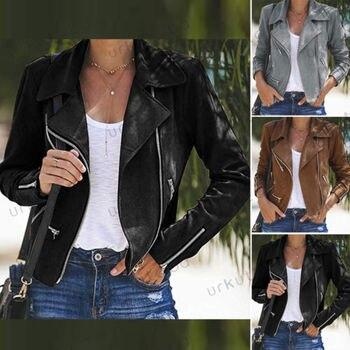 Women Ladies Leather Jacket Coats Zip Up Biker Casual Flight Top Coat Outwear 1