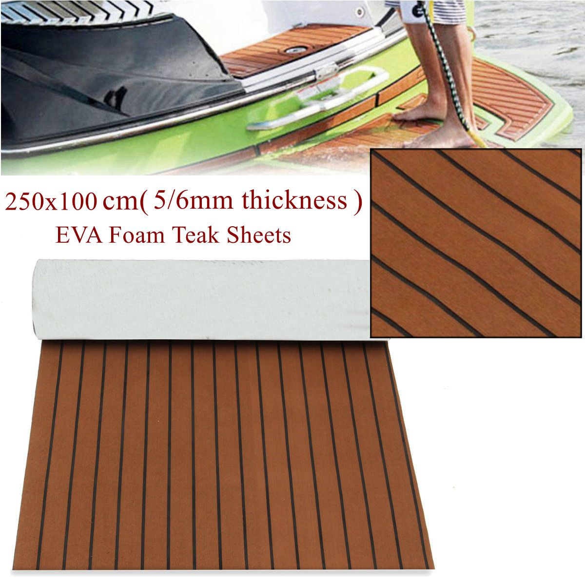 Self-Adhesive 2500x1000x6mm Thickness EVA Foam Faux Teak Decking Sheet Dark Brown Marine Boat DIY Car Protective Floor Carpet