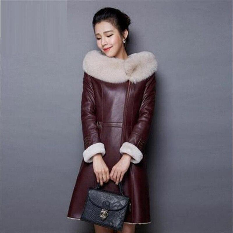 En Burgundy Col Haut American Cuir 2018 Manteau Gamme European Femmes Capuche D'hiver De Veste Chaud Mode Tempérament pYwqaw
