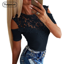 Pickyourlook Tshirt For Women Mesh Floral Lace Embroidered Sexy Lady Tops T-Shirt Hollow Out Round O Neck Tee Shirt CamicetteD30 недорого