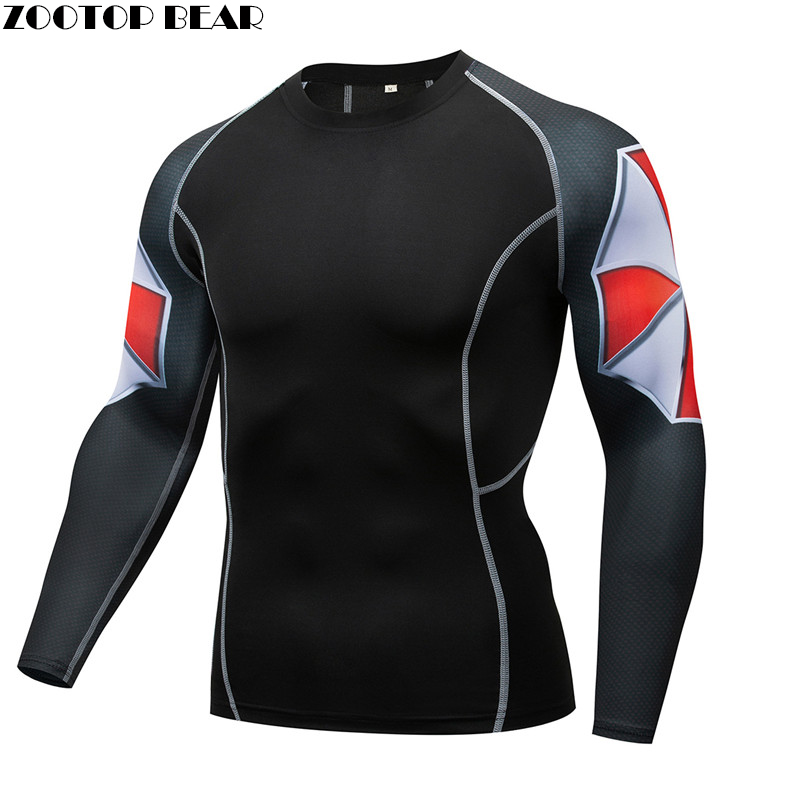 Contrast Color Mma Compression Tee Rash Guard Men T -Shirt Quick Dry Breathable Elastic Tight Weight Lifting Crossfit Top Fitnes