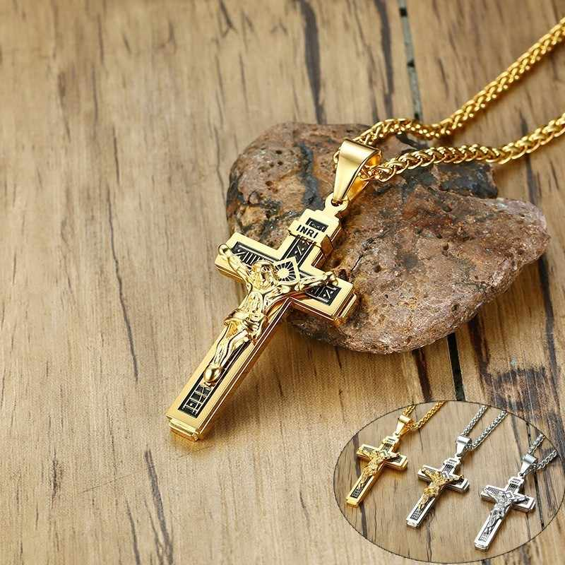 Vnox INRI Cross Pendant Necklaces for Men Stainless Steel Jesus Prayer Male Christian Collar Lucky Accessory