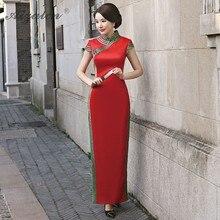 Red Long Cheongsam Chinese Tradition Dresses Qipao Oriental Style Vintage Satin Dress 2019 Chinoise Qi Pao Elegant Robe Women