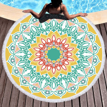 Mandala Round Beach Towel Circle Tassels Lotus Floral Printed Yoga Picnic Mat Summer Swimming Sport Large Toallas Bath Blanket mandala lotus lotus printed long fringe round beach towel