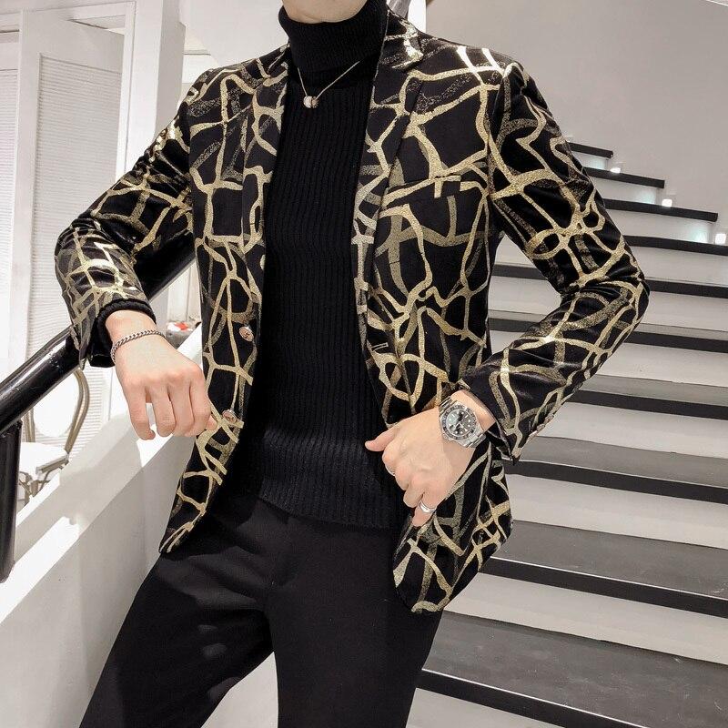 2019 nouveau Blazer hommes coréen coupe ajustée imprimer hommes Blazer veste à manches longues décontracté coiffeur costume veste robe Blazer Masculino