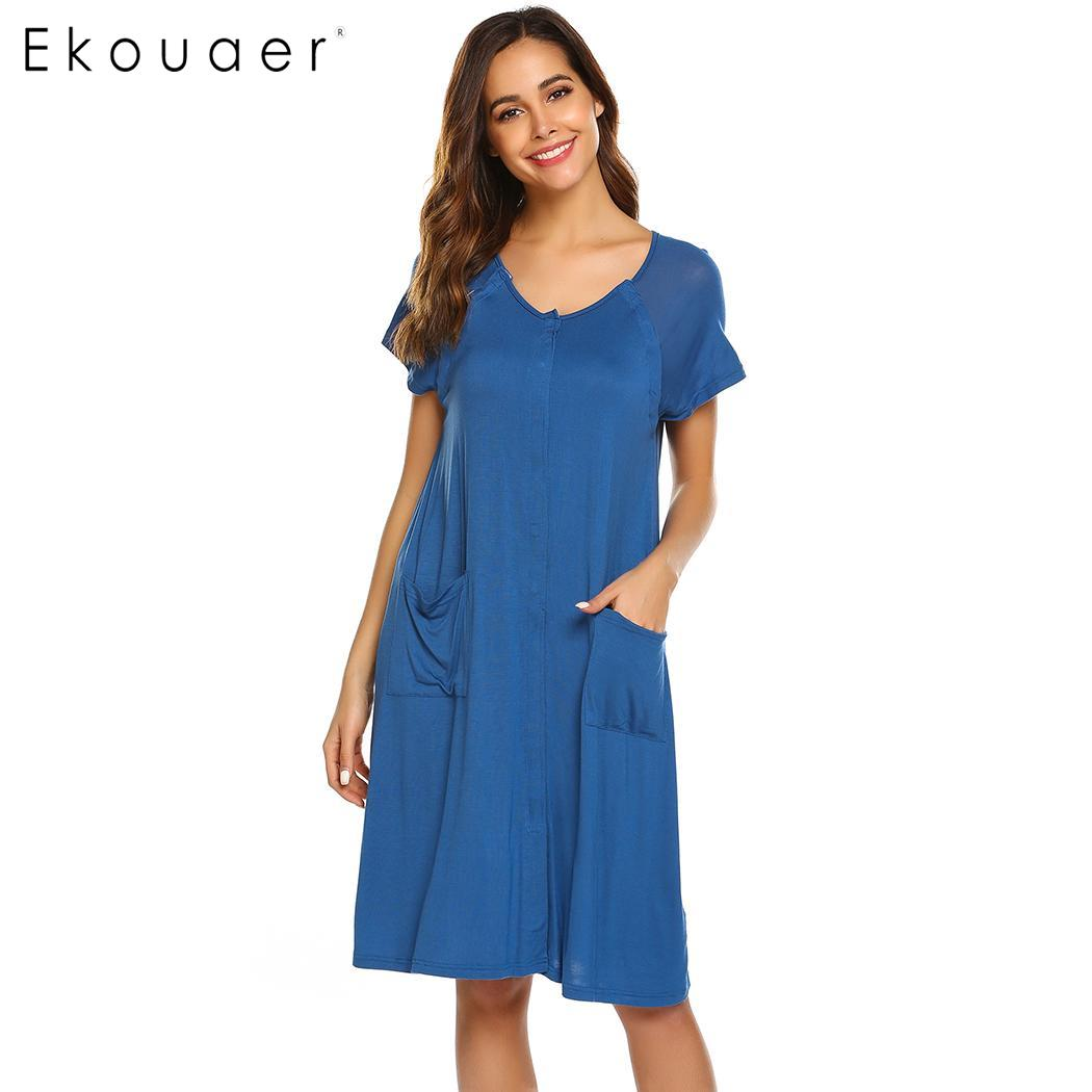 Ekouaer Women   Nightgown   Short Sleeve Chemise   Sleepshirts   Maternity Night Dress Casual Homewear Nightdress Female Nighties