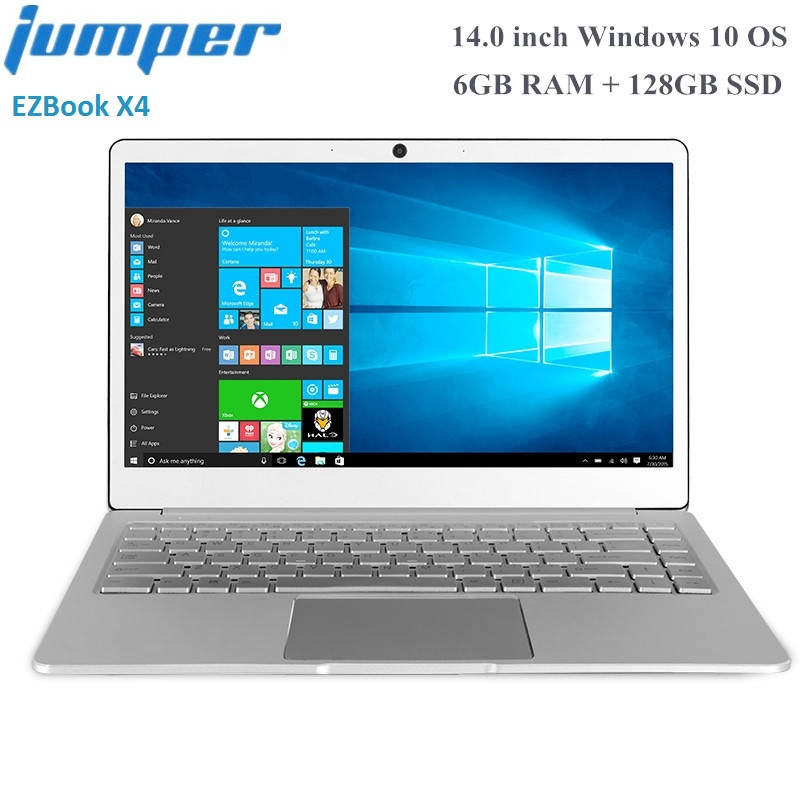 Jumper EZbook X4 Notebook 14.0 inch Windows 10 Intel Apollo Lake J3455 Quad Core 1.5GHz 6GB RAM 128GB SSD Dual Wifi HDMI Laptop image