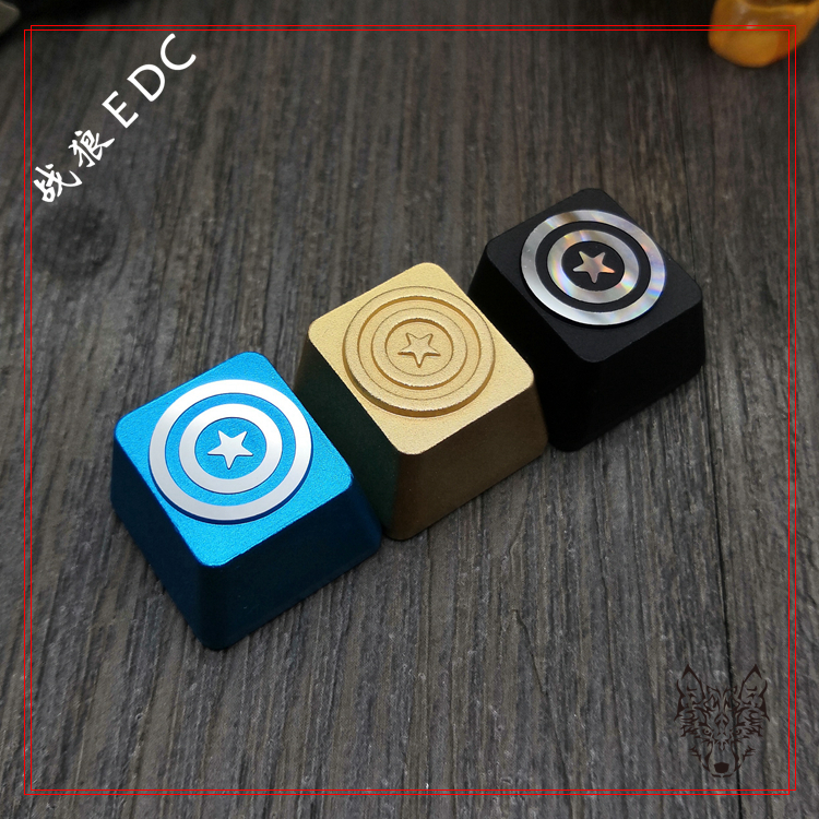 1pc Aluminium Alloy Keycap Mechanical Keyboard Personality Decoration Cap Esc R4 Dly Key For Captain America's Shield