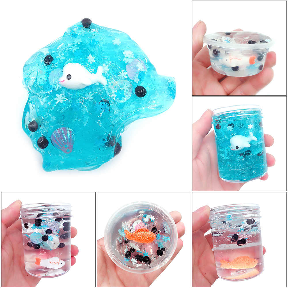 120ml Fish Mud Mixing Cloud Slime Putty Scented Stress Kids Clay Slices Toys Office Antistress Lizun Toy New Arrival Hot Sales