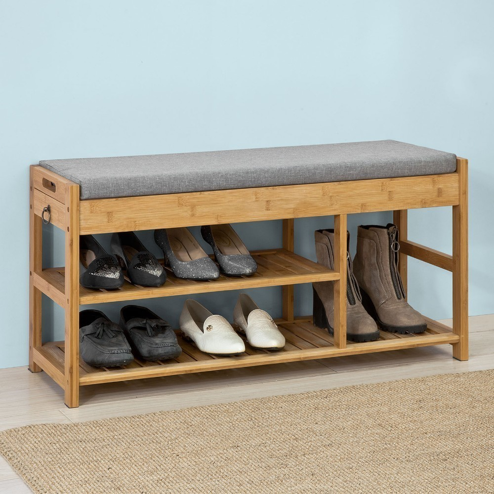Us 80 95 So Fsr47 N Bamboo Shoe Rack Bench With Lift Up Seat Cushion Hallway Storage Organizer Drawers In Cabinets From Furniture