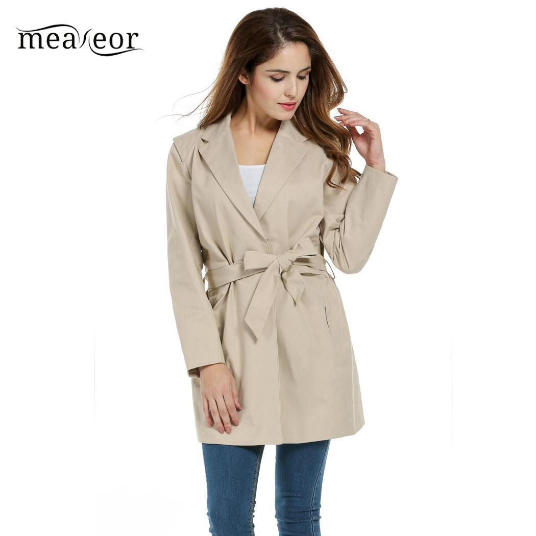 Meaneor Vintage Style Women Overcoat Lapel Long Sleeve Solid Autumn Trench with Belt Loose Women Coats Autumn Trench Outwear