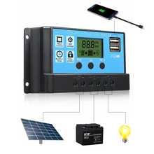 Big Clear LCD Display PWM 12V 24V 10 20 30A Solar Controller Dual USB Solar Panel