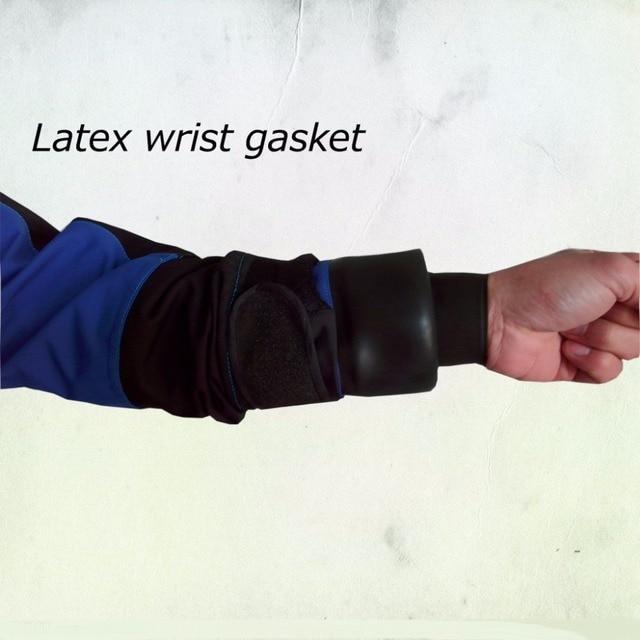 2016new fermeture à glissière arrière, latex cou et poignet joint sec costume pour leau vive kayak de mer sauvetage Rafting kayak pêche