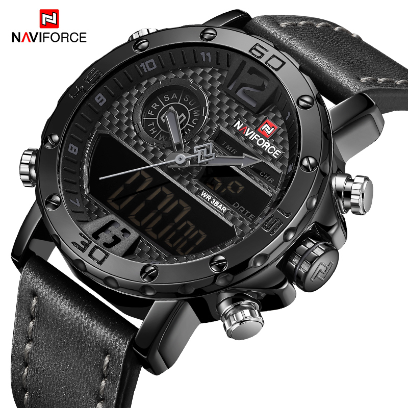 NAVIFORCE Men's Fashion LED Digital Quartz Wrist Watch Waterproof Military Sports Watches For Men Erkek Kol Saati Reloj Hombre цена