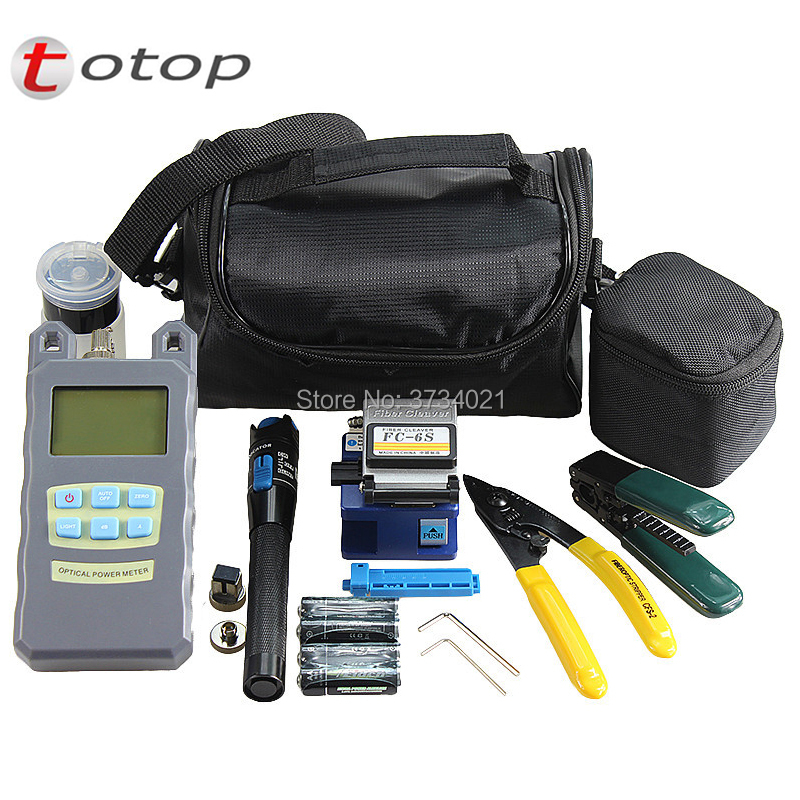14Pcs Fiber Optic FTTH Tool Kits with Optical Power Meter, 1mw Visual Fault Locator, Fiber Cleaver FC-6S, Drop Cable Stripper14Pcs Fiber Optic FTTH Tool Kits with Optical Power Meter, 1mw Visual Fault Locator, Fiber Cleaver FC-6S, Drop Cable Stripper