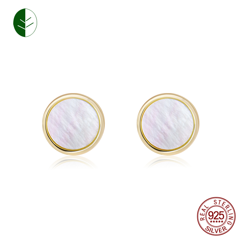 2018 New Fashion 925 Silver Shell Earrign Gold Color Mother of Pearl Stud Earrings Woman Jewelry Christmas Gift zk40